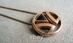 LeVian LOGO PENDANT 14K Rose GOLD on STERLING Silver with SMOKY QUARTZ NECKLACE