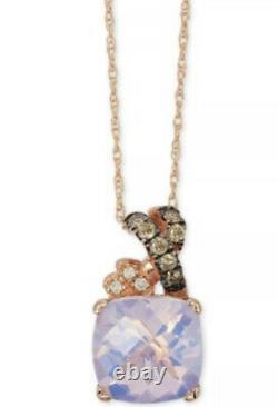 LeVian Lavender Quartz Chocolate Diamond 2.61 ct Pendant Necklace 14k Rose Gold