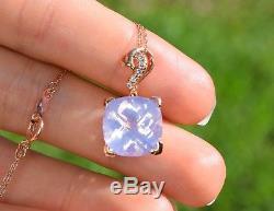 LeVian Lavender Quartz Diamond 5.97 ct Pendant Necklace 14k Rose Gold NEW