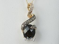 LeVian Necklace Smoky Quartz Diamond 14K Rose Gold Swirl Ribbon 20 Jewelry
