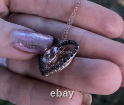 LeVian Pendant Morganite Chocolate Quartz Topaz Heart Necklace 14k Rose Gold NEW