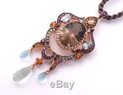 LeVian Smokey Quartz Blue Topaz Citrine Garnet Pendant Necklace 14k Rose Gold