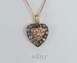 LeVian Smoky Quartz Diamond 14K Rose Gold Heart Flower Pendant Necklace