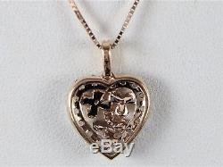 LeVian Smoky Quartz Diamond Heart Flower 14K Rose Gold Pendant Necklace