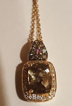 LeVian smoky quartz chocolate vanilla Diamond Halo strawberry Rose 14kt pendant