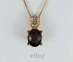 Levian 14K Rose Gold Smoky Quartz Chocolate Diamond Necklace Pendant