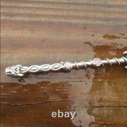 Lion Wand Pendant. 925 Sterling Silver with Genuine Rose Quartz Gemstone