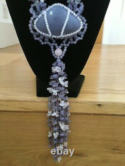 Lola Rose Grey Agate & Rose Quartz Pendant Necklace Showstopper Huge Bnib