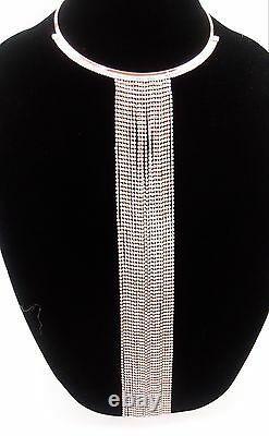 Long Clear Gem Crystal Rhinestone Fashion Necklace Bib Pendant Choker Rose Gold