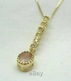 Lovely 9 carat Gold Rose Quartz And Diamond Pendant And Chain