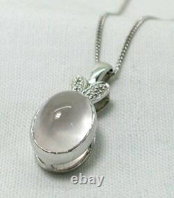 Lovely 9 carat White Gold Large Rose Quartz And Diamond Pendant And Chain