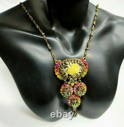 Lovely Michal Negrin Necklace Colourful Crystal Roses Swarovski