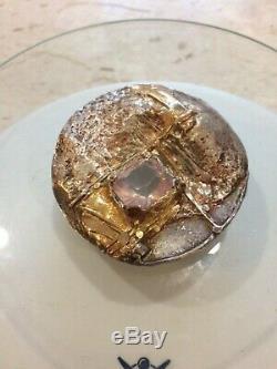 MCM 80s Modernist Sterling Pendant & Brroch Gold Rose Quartz Huge Vintage
