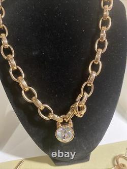 MICHAEL KORS Chunky GOLD CHAIN Crystal Logo Lock NECKLACE 18 & 7.5 BRACELET
