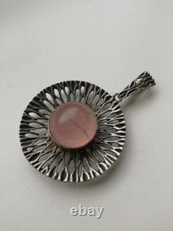 MODERNISM mid century large sun burst statement silver and rose quartz pendant