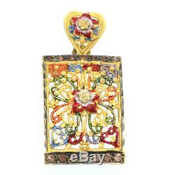 Mangalsutra Indian Wedding Floral Pendant Necklace 18k Yellow Gold Pink Quartz