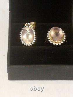 Matching Angelandia Rose Quartz Ring and Pendant set in 9k yellow gold