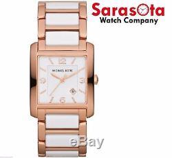 Michael Kors MK4272 Rose Gold Tone/White Ceramic Quartz Rectangular Womens Watch