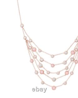 Michael Kors Rose Gold Multi Strand Chain, Pink Crystal Studs, Necklace Mkj6527