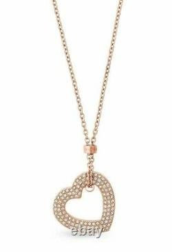 Michael Kors Rose Gold Tone Chain+heart Charm, Crystals, Long Necklace Mkj6382