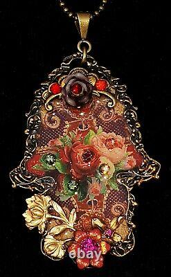 Michal Negrin Hamsa Necklace Red Pink Roses Ornate Pendant Crystal Flowers Drop