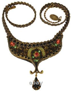Michal Negrin Necklace Black Velvet Rose Pendant Floral Crystal Victorian Retro
