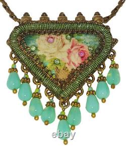 Michal Negrin Necklace Rose Talisman Pendant Crystal Beads Floral Handmade Retro