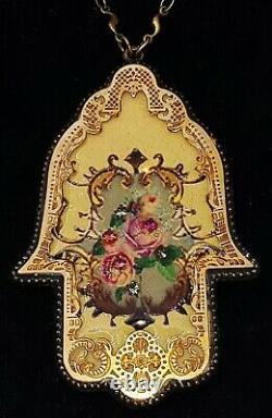 Michal Negrin Rose Hamsa Necklace Filigree Pendant Victorian Baroque Floral Boho
