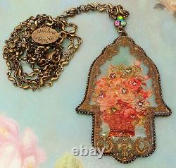 Michal Negrin Roses Hamsa Necklace Filigree Floral Crystal Pendant Retro Vintage