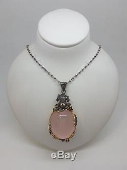 Miran 070057 Ornate Round Pendant Rose Quartz/SterlingSilver/GoldPlating RRP$499