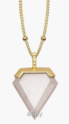 Missoma 18ct Gold Rose Quartz Vermeil Shield Pendant Necklace B+