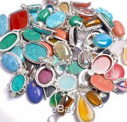 Mix Gemstone Wholesale Lot 100pcs Silver Overlay Pendants