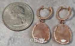 Modern 14K Rose Gold Diamond Pink Quartz Drop Pendant Earrings