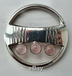 Modernist Finnish Silver & Rose Quartz Turun Hopea Necklace Pendant / Brooch