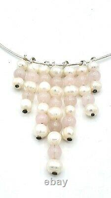 Modernist Sterling Silver PEARL Minimalist Collar Pendant Necklace