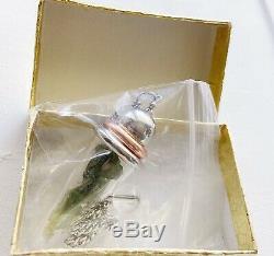 Moldavite Pendulum Pendant Copper Ring (Gift Rare Lavender Rose Quartz Tumble)