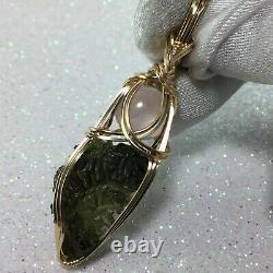 Moldavite with Rose Quartz Crystal Necklace Pendant Czech Republic Tektite MR2G