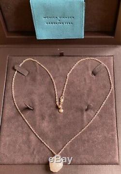 Monica VInader x Caroline Issa Gemstone Rose Quartz Pendant Adjustable Necklace