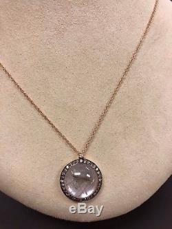 Moraglione Sofia 18K Rose Gold Rutilated Quartz and Diamond Pendant $2725