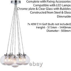 Multi Light Ceiling Pendant CHROME & GLASS7 Bulb Modern Round Shade Drop Lamp