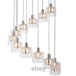 Multi Light Ceiling Pendant12 Bulb Chrome & Crystal ChandelierHeight Drop Lamp