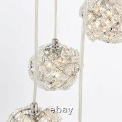 Multi Light Ceiling Pendant5 Bulb Chrome & Crystal Glass ChandelierHeight Lamp