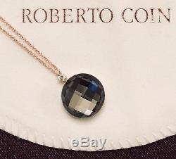 NWT $1190 ROBERTO COIN 18K Rose Gold Quartz & Diamond Cocktail Pendant Necklace