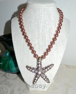 NWT $340 HEIDI DAUS Sea-ing Stars Starfish Pendant Necklace Rose Pearls Crystals
