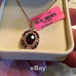 NWT LeVian PENDANT 3.36ctw Garnet Quartz Sapphire 14K Rose Gold 18 Chain