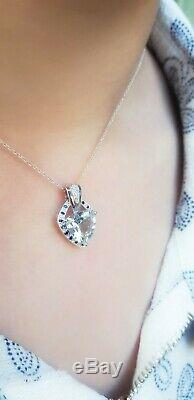 Natural Aquamarine Blue Sapphire Diamond Solid 9K White Gold Pendant Necklace