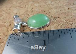 Natural Genuine Green Jade Rose Quartz Slide Pendant 925 Sterling Silver #712