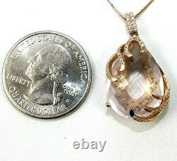 Natural Oval Pink Rose Quartz & Diamond Necklace Pendant 14K Rose Gold 13.26Ct