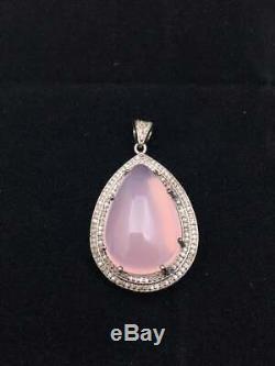 Natural Pave Diamond Rose Quartz Gemstone Pendant 925 Silver Fine Jewelry MB