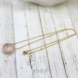 Natural Rose Quartz Fancy Cushion Pendant 18Carat Yellow Gold Minimal Necklace
